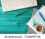 workplace background with... | Shutterstock . vector #714609718