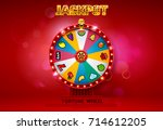 fortune wheel spinning on bokeh ... | Shutterstock .eps vector #714612205