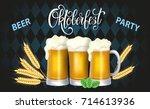 oktoberfest lettering  a glass... | Shutterstock .eps vector #714613936