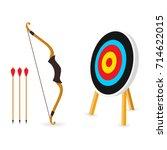 target with 3 arrows. dart... | Shutterstock .eps vector #714622015