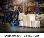 forklift is handling jumbo bags ... | Shutterstock . vector #714623605