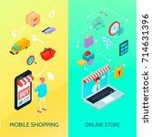shopping ecommerce banner set... | Shutterstock .eps vector #714631396