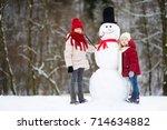 two adorable little girls... | Shutterstock . vector #714634882