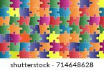 color puzzles pieces arranged... | Shutterstock .eps vector #714648628