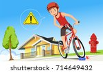 careless cycling.the problem of ... | Shutterstock .eps vector #714649432