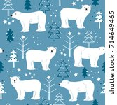 seamless pattern with polar... | Shutterstock .eps vector #714649465