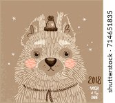 new year card with hand drawn... | Shutterstock .eps vector #714651835