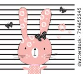 cute bunny girl with butterfly  ... | Shutterstock .eps vector #714652345