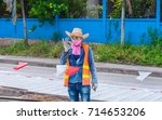 a colorful road construction... | Shutterstock . vector #714653206