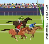 horse racing competition.... | Shutterstock .eps vector #714654625