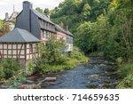 monschau a beautiful house by... | Shutterstock . vector #714659635