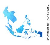 map of asean   blue geometric... | Shutterstock .eps vector #714664252