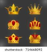 set of golden crown icons... | Shutterstock .eps vector #714668092