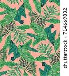 seamless tropical leaves... | Shutterstock .eps vector #714669832