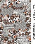 geometric pattern.small flowers ... | Shutterstock . vector #714672796