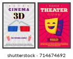retro movie posters set in... | Shutterstock .eps vector #714674692