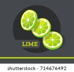 lime slice fruit vector set... | Shutterstock .eps vector #714676492