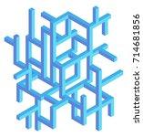 abstract construction   3d... | Shutterstock .eps vector #714681856