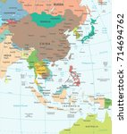 east asia map   detailed vector ... | Shutterstock .eps vector #714694762