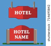 red hotel label flat style | Shutterstock .eps vector #714695842