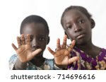 african children showing hand... | Shutterstock . vector #714696616