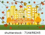 colorful foliage on trees  ... | Shutterstock .eps vector #714698245