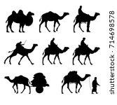 set of vector camels. black... | Shutterstock .eps vector #714698578