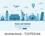 travel composition with famous... | Shutterstock .eps vector #714702166