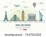 travel composition with famous... | Shutterstock .eps vector #714702202