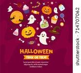 halloween greeting card... | Shutterstock .eps vector #714707062