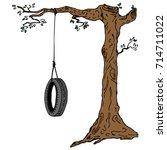 children's swing on a tree... | Shutterstock .eps vector #714711022