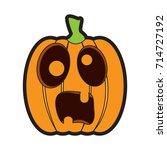 isolated scared jack o lantern... | Shutterstock .eps vector #714727192