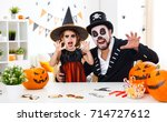 a happy family father and child ... | Shutterstock . vector #714727612