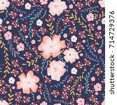 cute soft floral seamless... | Shutterstock .eps vector #714729376