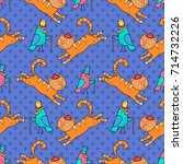 seamless pattern with cats.... | Shutterstock .eps vector #714732226