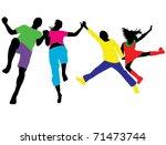 family silhouettes | Shutterstock .eps vector #71473744