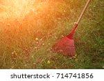 Red Rake For Harvesting Leaves...