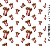 vector red polka dot wellies... | Shutterstock .eps vector #714747112