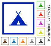 tent flat color icons in square ...