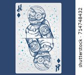 king of diamonds. playing card... | Shutterstock .eps vector #714748432