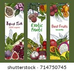 three vertical banners with... | Shutterstock .eps vector #714750745