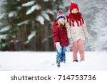 two adorable little girls... | Shutterstock . vector #714753736