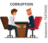 businessman giving bribe money. ... | Shutterstock .eps vector #714754102
