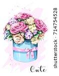 cute hand drawn flower box.... | Shutterstock .eps vector #714754528