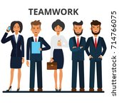 business team. teamwork. a... | Shutterstock .eps vector #714766075