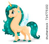sweet unicorn beige pony...   Shutterstock .eps vector #714775102