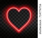 bright neon heart. heart sign... | Shutterstock .eps vector #714776716