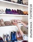 wardrobe. shelves for shoes....   Shutterstock . vector #714785218