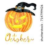 october month. pumpkin head for ... | Shutterstock . vector #714799426