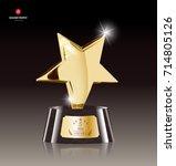 realistic golden star trophy... | Shutterstock .eps vector #714805126